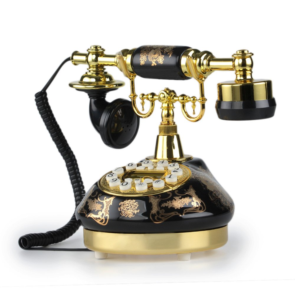 LNC Black Ceramic LNC Retro Vintage Antique Style Push Button Dial Desk Telephone Phone Home Living Room Decor 1