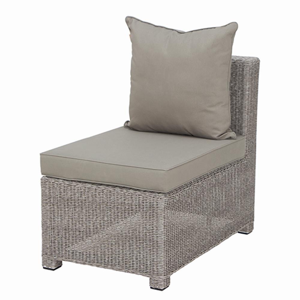 Siena Garden 936794 mittelteil Ancona, Aluminium-Untergestell, Gardino-Geflecht bi-color weiß, Kissen natur, zur Erweiterung des Lounge-Sets