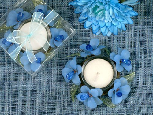 Elegant Frosted Blue Glass Flower Candle Holder - Wedding Party Favors