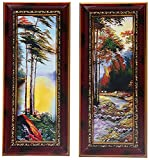 DD Tech Scenery Poster with Wooden Frame (Set of 2, 33 in x 28 in x 3 in, Maroon, ST_maroon_aplno.07_2tree_scenery)