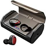 ?120H Playtime? True Bluetooth 5.0 Wireless Ear Buds with 3000mAH Charging Case, Automatic Pair/Deep Bass/Noise Cancellation/Waterproof Sport Wireless Bluetooth Headphones Headset (Color: Red-Light, Tamaño: 3.2*2*1.3 inch charging case)