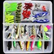 AGadget Fishing Lures 101PCS/Box Mixed Lots including Hard Lure Minnow Popper Crankbaits VIB Topwater Diving Floating Lures Soft Plastics Worm Spoons Other Saltwater Freshwater Lures with Tackle Box