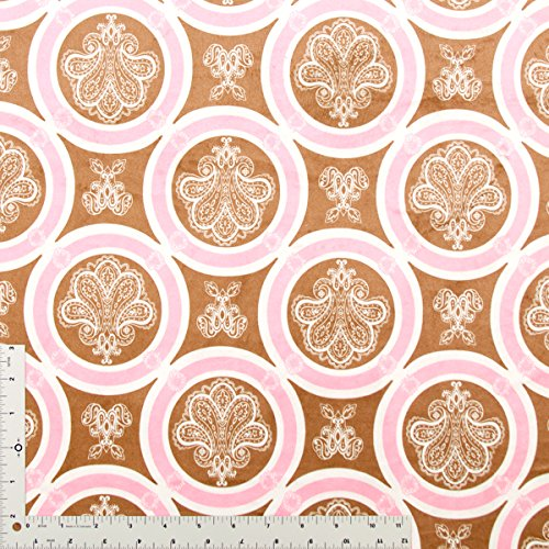 De Lis Print In Bubblegum Pink, Espresso Brown And Natural On Soft Minky Fabric - 10 Yards front-241690