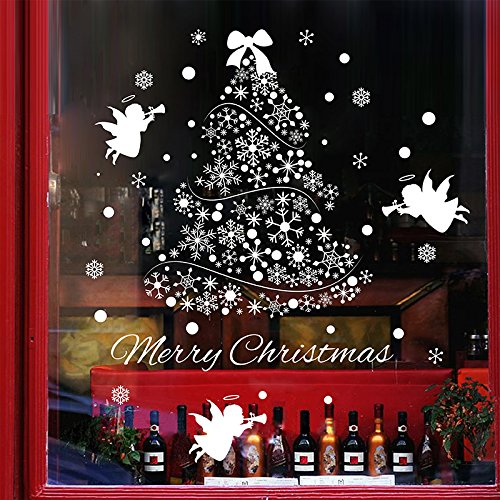 SWORNA Holiday Series SN-62 Merry Christmas Tree Angel Snowflakes Removable Vinyl DIY Wall Window Door Mural Decal Sticker for Retail Store/Coffee House/Restaurant/Supermarket/Dress Shop 44