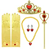 Tacobear Princess Dress up Accessories 5 Pieces Gift Belle Set for Girls Crown Scepter Necklace Earrings Gloves Yellow (Color: Yellow, Tamaño: one size)