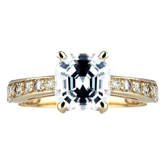 Goldtone Asscher Cut CZ Engagement Ring