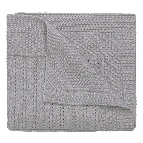 "Elegant Baby 100% Cotton Seed Knit Blanket, Gray, 30"" X 40"""