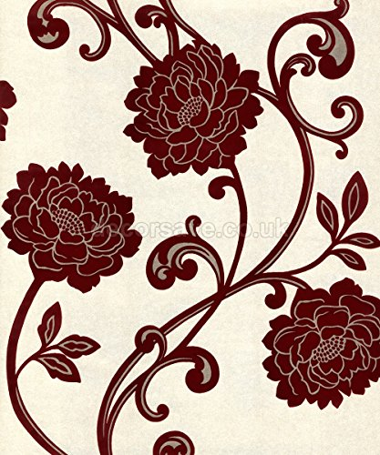 Statement alanis floral cream red flock wallpaper compare lowest prices reviews ratings - Cream flock wallpaper ...