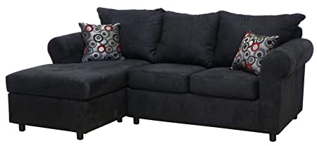 Chelsea Home Furniture Dina 2-Piece Sectional, Bulldozer Black/Bullseye Pepper