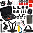 Vanwalk 18-in-1 Accessories Kit for Gopro Hd Hero 4 Session, Hero3+, Hero3, Hero2 & Hero+ Lcd, Chest Mount Harness / Head Strap / Telescopic Pole / Carry Case / Floating Grip
