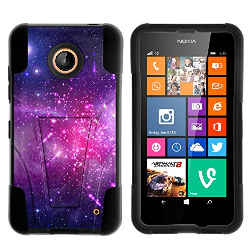 Nokia Lumia 635 Case, Nokia Lumia 630 Case, Durable Hybrid STRIKE Impact Kickstand Case with Art Pattern Designs for Nokia Lumia 635, 630 (AT&T, Sprint, T Mobile, Cricket, Virgin Mobile, Boost Mobile, MetroPCS) from MINITURTLE | Includes Clear Screen Protector and Stylus Pen - Heavenly Stars (Nokia Lumia 635 Boost Mobile compare prices)