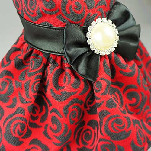 Fitwarm Elegant Rose Bowknot Belt Dog Dress for Pet Cat Coat Vest Clothes, Small