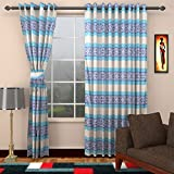 Ajay Furnishings 2 Piece Polyester Stripe Door Curtain - 7 ft, Blue
