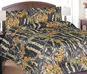 Regal Comfort Black Woodland Camo Super Soft Microfiber 3 Piece Sheet Set 800 Thread Count Twin by DI