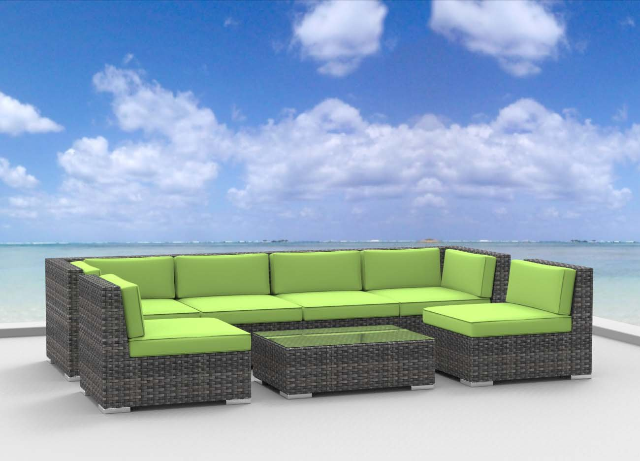 UrbanFurnishing.net - OAHU 7pc Modern Outdoor Backyard Wicker Rattan Patio Furniture Sofa Sectional Couch Set at Sears.com