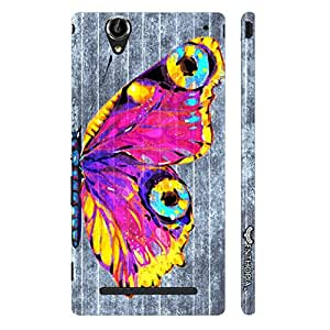 Sony Xperia T3 Butterfly on a Grey Wall designer mobile hard shell case by Enthopia