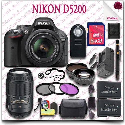 Nikon D5200 Digital Slr Camera With 18-55Mm Af-S Dx Vr (Black) + Nikon 55-300Mm Af-S Dx Vr Lens (Refurbished) + 64Gb Sdhc Class 10 Card + Wide Angle Lens / Telephoto Lens + 3Pc Filter Kit + Slr Gadget Bag + Wireless Remote 21Pc Nikon Saver Bundle