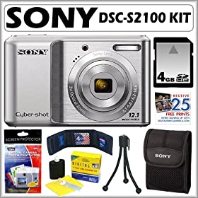 Sony DSCS2100 DSC-S2100 12.1MP Digital Camera with 3x Optical Zoom with Digital Steady Shot Image Stabilization and 3.0 inch LCD in Silver + 4GB Accessory Kit