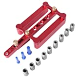 Woodworking Self Centering Dowelling Jig for Metric Dowels 6/8/10mm Precise Drilling Tools RED (Color: Red)