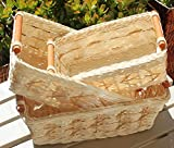 RT430711-3 Rectangular Wicker/Rattan Bread or Storage Baskets in Cream with Pole Handles