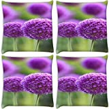 Snoogg Purple Blossoms Pack Of 4 Digitally Printed Cushion Cover Pillows 16 X 16 Inch