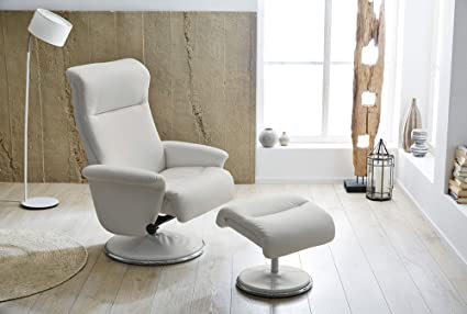 Relax Sessel, Fernsehsessel, TV Sessel, Funktionsessel, Mit Hocker, Loungesessel, Lesesessel, Relaxliege, Kunstleder, Chrom, Weiß, Polsterung