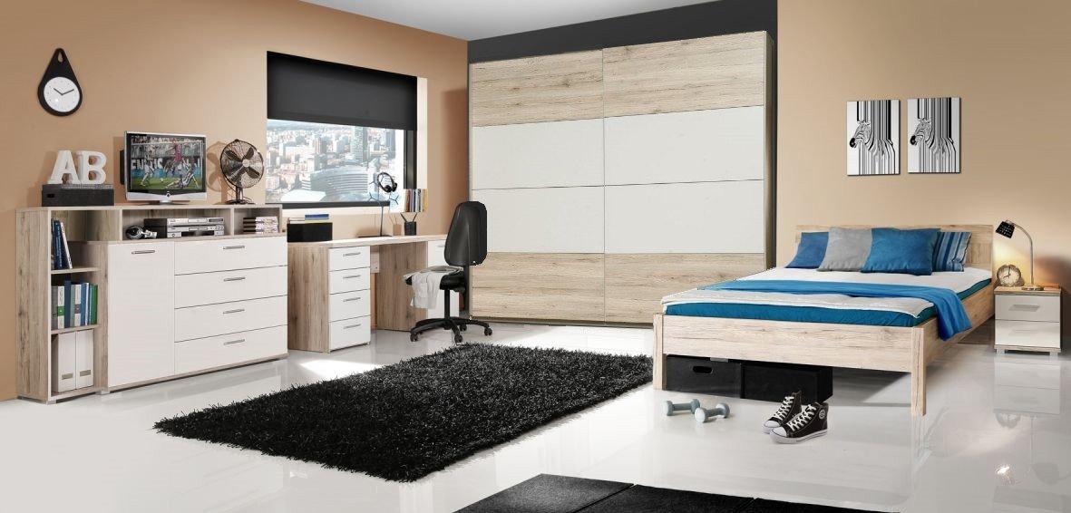 Jugendzimmer mit Bett 140 x 200 cm Sandeiche/ weiss bestellen