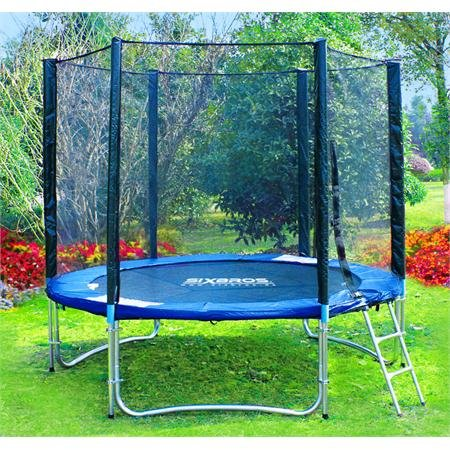 SixBros. Sport - SixJump 6FT XXL Professional Gartentrampolin Trampolin 1,85 m  | Leiter | Sicherheitsnetz | Wetterplane | Modell 2012