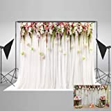 7(W)x5(H)ft Cotton Polyester  Printed  Flowers White Pink  Curtain Wedding Ceremony Baby Shower Photography Backdrop No Creases Folding and Washable Photo Booth Background (Color: 79D)