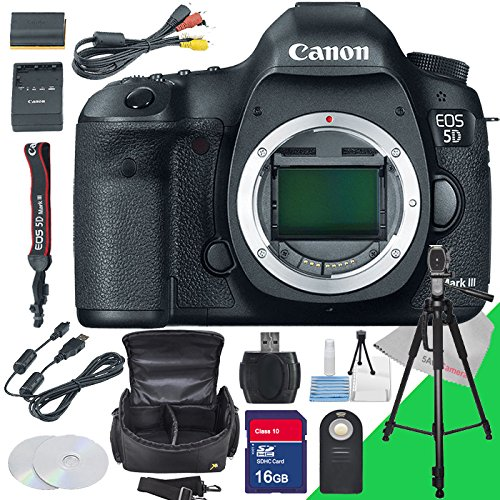 Canon EOS 5d Mark III Dslr Camera (Body Only), Camera Case, Remote Control, 16gb Sd Card  &  Memory Card Reader + Full Size Tripod