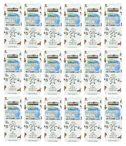 Kirkland Signature Organic Chocolate Reduced Fat Milk With Vitamins A And D: 18 Cartons Of 8.25 Oz - Cos14