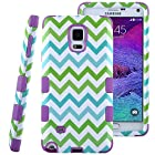 Note 4 Case,ULAK Note 4 ULAK Colorful Hybrid TPU+PC 3in1 Sockproof Hard Case for Samsung Galaxy Note 4 Flip Cover with with Screen Protector Stylus (Blue/Green Wave + Purple)