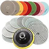CynKen 10pcs 4 Inch 50 to 6000 Grit Diamond Polishing Pads for Granite Marble Polish