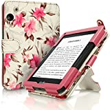 IGadgitz Vintage Collection Floral PU Leather Case Cover for Amazon Kindle Voyage 7th Generation - Pink/Cream