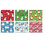 Pack of 6 Rolls of Holiday Wrapping Paper 6 Different Juvenile Christmas Gift Wrap 30in x 14ft Rolls Included Xmas Reindeer, Snowman, Santa Gift Wrap Wrapping Paper Bulk for Men, Women, Boys