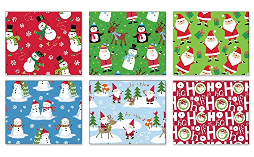 Pack of 6 Rolls of Holiday Wrapping Paper 6 Different Juvenile Christmas Gift Wrap 30in x 14ft Rolls Included Xmas Reindeer, Snowman, Santa Gift Wrap Wrapping Paper Bulk for Men, Women, Boys 0