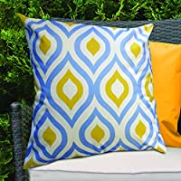 Blue & Yellow Geometric Design Water Resistant Outdoor Filled Cushion for Cane/Garden Furniture by Gardenista