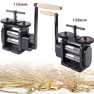 TFCFL Manual Combination Rolling Mill Machine110mm/130mm Wide 55mm/65mm Diameter Rollers, Maximum 4/5 mm Opening Jewelry DIY Tool Making Machine (110MM)