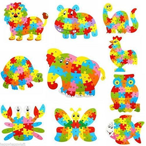 Alphabet Puzzle 3D Bois Enfant Jeux éducatifs Animaux Lion Jouet Cadeau