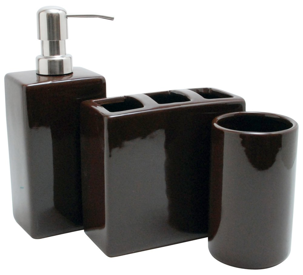 Black bathroom accessories good home finds for Black white bathroom set
