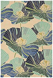 Rug Squared Laurel Floral Area Rug (LA24), 8-Feet by 10-Feet 6-Inches, Ivory Aqua
