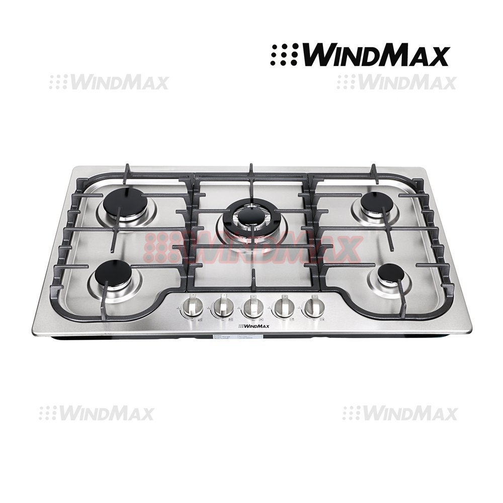 "WindMax® 34"" Fashion Lines Stainless Steel 5 Burner Built-In Stoves Gas Cooktops Cooker"