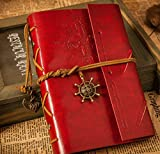 Amzingsir Retro Vintage Pirate Travel Journal Diary Leather Notebook Workbooks (Red)