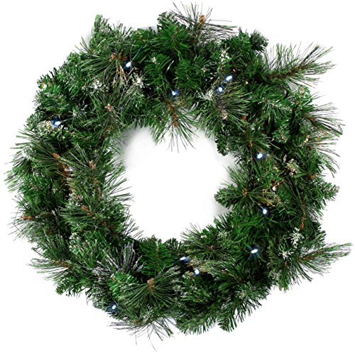 Christmas Decoration Frost Shimmer Pine Wreath With Led Lights