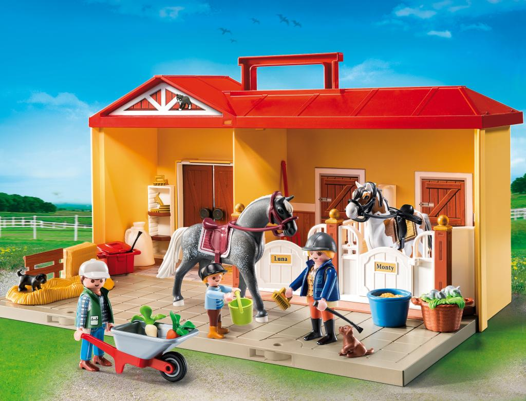 Amazon.com: PLAYMOBIL Take Along Horse Farm Playset: Toys & Games