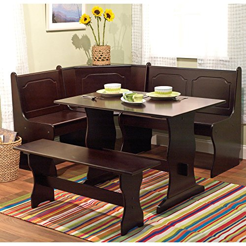 Target Marketing Systems 3 Piece Breakfast Nook Dining Set with a L-Shaped Storage Bench and a Trestle Style Dining Table and Bench, Espresso (Target Storage Bench compare prices)