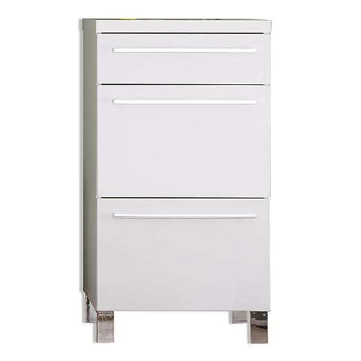 trendteam DY56001 armario cómoda blanco brillante, ancho x alto x 54 x 100 x 35 cm