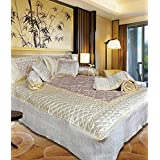 Om Prints Satin Gold Printed Double Bed Bedding Wedding Set ( Set Of 8 Pcs) 1 Double Bed Bedsheet:: 2 Pillow Cover:: 1 Double Bed AC Comforter:: 2 Filled Cushions:: 2 Filled Bolsters