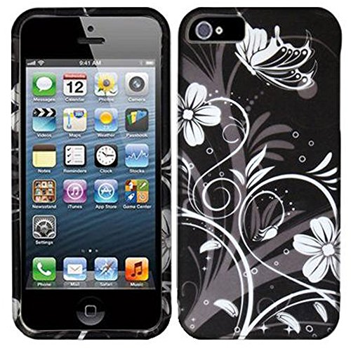 Mylife White + Black Flowers And Vines Series (2 Piece Snap On) Hardshell Plates Case For The Iphone 5/5S (5G) 5Th Generation Touch Phone (Clip Fitted Front And Back Solid Cover Case + Rubberized Tough Armor Skin)