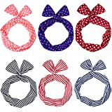 EBoot 6 Pieces Twist Bow Wire Headband Retro Bowknot Polka Dot Stripe Wire Hair Holders For Women And Girls, Multicolor